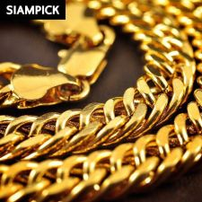 "Buy 26"" Thai Baht 22k 24k Yellow Gold Plated Cuban Curb Chain Necklace Jewelry N025"