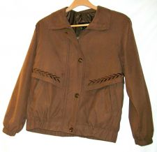 Buy EUC women's, sz. M, giacca, brown, long sleeve, zippered & buttoned, jacket