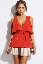Buy Trendy Women Casual Terracotta Orange Sleeveless Button Up Belted Shirt S M L