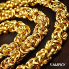 "Buy 24"" Thai Baht 22k 23k 24k Yellow Gold Plated Byzantine Mens Chain Necklace N014"