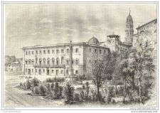 Buy ITALY - CATHEDRAL PLAZA & GUIDO TARLATI WALLS - engraving from 1883