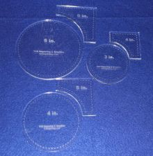 """Buy 6 Piece Set Quilt Templates ~1/4"""" Clear Acrylic - Circle within Square Set"""