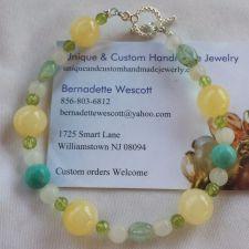 "Buy gemstone calcite,magnesite,quartz italian ""onyx"" handmade bracelet sizing avail."