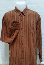 Buy Mens Tommy Bahama Silk Button Front Long Sleeve Brown Striped Shirt