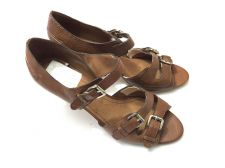 Buy Nine West Eriley Light Brown Leather Open Toe Buckle Heel 9.5 M Medium NEW