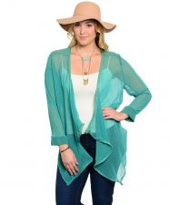 Buy Causal Trendy Plus Size Green Sheer Cardigan with Faux & Zipper Accent Hi-Low