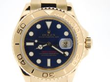 Buy Mens 40MM Rolex Solid 18K Yellow Gold Yacht-Master Date Blue Illuminated 16628