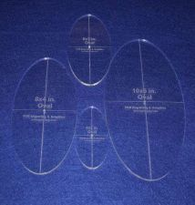 """Buy 4 Piece Quilt Ovals Template 1/4 """" 4"""", 6"""" , 8"""", 10"""" w/ Center Hole & Guidelines"""