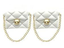 Buy White Handbag Purse Earrings with Gold Chain White Earrings Chain Earrings 1.5'