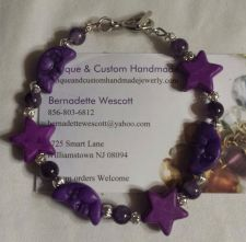 Buy star and moon amethyst and ceramic handmade bracelet sizing available