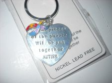 Buy Autism key chain engraved heart Puzzle Ribbon pieces puzzle will be put together