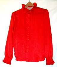 Buy EUC women's, sz. 14, Nordstrom, red, long sleeve, button down blouse