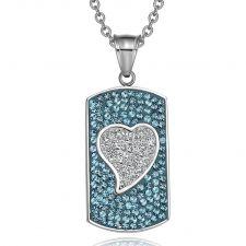 Buy Magic Heart Austrian Crystals Amulet Love Energy Aqua Blue and White Dog Tag Pendant