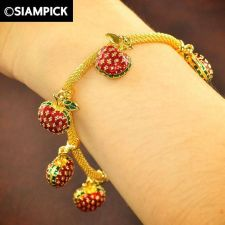 Buy Thai Enamel 22k 24k Baht Yellow Gold Plated Bracelet Chain Bangle Jewelry B025