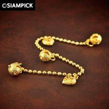 Buy 24k Bead Chain Bracelet Thai Baht Yellow Gold GP Bangle Charm Dangle Jewelry 21