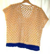 Buy EUC women's, sz. XL, hand made, tan/cobalt blue, sleeveless, pullover, sweater