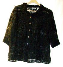 Buy EUC women's, sz. 18W/20W, WHITE STAG, black, cut-out pattern, 3/4 sleeve, shirt