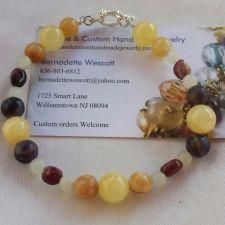 "Buy gemstone calcite,quartz italian ""onyx"" fluorite handmade bracelet sizing avail."