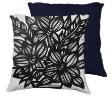 Buy Hargett 18X18 Black White Flowers Floral Botanical Blue Back Cushion Case Throw Pillo