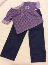 Buy Pastry Jeans and Shirt Outfit Denim Purple Girls Size 18m