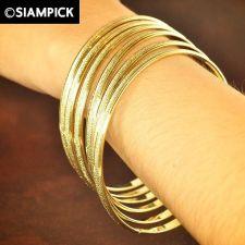 Buy 6x Stack Thai Baht 22k 24k Yellow Gold Plated GP Bangle Bracelet Jewelry B026