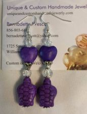 Buy turtle love purple glass and ceramic handmade earrings
