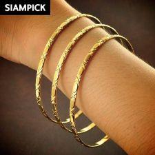 Buy 3x Stack Thai Baht 22k 24k Yellow Gold Plated Bangle Bracelet Jewelry New B104