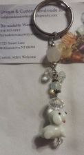 Buy dog white lampwork glass handmade keyring