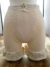 Buy 60's Mod Macbess Lycra Spandex Satin Beige/ Cream Vintage Thigh Length Girdle S