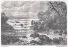 Buy PERU - CROSSING MESACANCHA RIVIERA - engraving from 1875