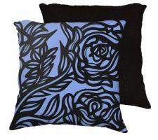 Buy 22x22 Leppert Blue Black Pillow Flowers Floral Botanical Cover Cushion Case Throw Pil
