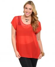 Buy Women Plus Size RED Short Sleeve Sheer Lace Chiffon Top Causal Night-out Top