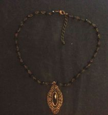 Buy Vintage Antiqued Bronze Filigree Pendant w/ Black Bead Necklace