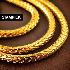"Buy Thai Baht Yellow Gold Pendant 24"" Franco Chain Necklace 22k 24k GP Jewelry N048"