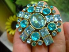 Buy Vintage Aqua Marine Blue Rhinestone gems Brooch open back Pin 2 in Oval