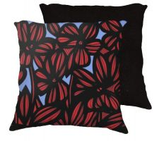 Buy Ormsbee 18x18 Red Blue Black Pillow Flowers Floral Botanical Cover Cushion Case Throw