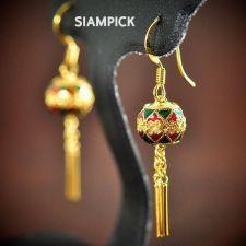 Buy Thai Enamel 24k Yellow Gold Baht GP Vintage Earrings Dangle Jewelry Long E006