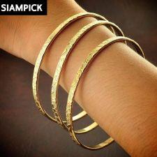 Buy 3x Stacked Thai Bangle Bracelet Baht Yellow Gold Plated 22k 24k GPJewelry B103