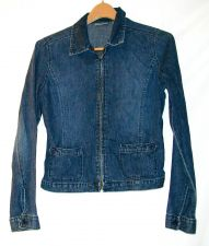 Buy EUC women's, sz. M, HALOGEN, blue, long sleeve, zippered, denim jean jacket