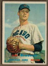 Buy VINTAGE JIM BROSNAN CHICAGO CUBS PITCHER 1957 TOPPS #155 GD/VG