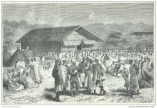 Buy ZANZIBAR (AFRICA) - ARRIVING AT KABINNDA - engraving from 1878