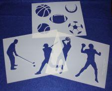 Buy 3 Piece Set -Mylar 14 Mil Sports Stencils Painting/Crafts/Stencil