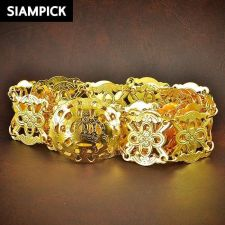 Buy 22k 24k Thai Baht Yellow Gold Plated Wedding Dress Buckle Belt Chain Link BE001