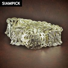 Buy Thai Antique Silver Plated Wedding Dress Buckle Belt Chain Link Real Wide BE003