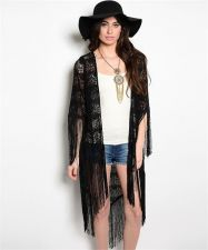 Buy EXTRA LONG LIGHT WEIGHT BLACK LACE KIMONO WITH FRINGE S,M,L