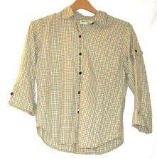 Buy EUC women's, sz. S, Eddie Bauer, gray/white/olive green, 3/4 sleeve, shirt