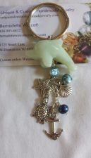 """Buy dolphin anchor turtle starfish and shell pearl and """"jade"""" handmade keyring"""