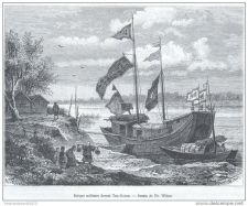 Buy CHINA - MILITARY SHIP AT TAN-GOUAN - engraving from 1875