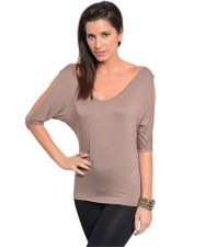 Buy Casual Women v-neck top with dolman 3/4 sleeve with Cutout shoulder S,M,L