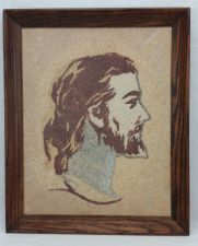Buy Jesus Sand Art Large Vintage Rare Picture Wood Frame Christ